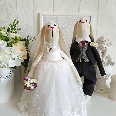 Куклы и игрушки ручной работы. Ярмарка Мастеров - ручная работа Свадебные тильда зайцы Свадебный подарок. Handmade.