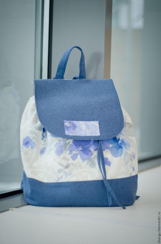 """Рюкзаки ручной работы. Ярмарка Мастеров - ручная работа. Купить рюкзак женский из ткани """"Rich blue"""". Handmade. Синий"""