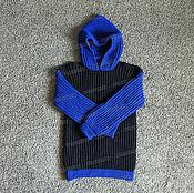 Одежда ручной работы. Ярмарка Мастеров - ручная работа Свитер черно-синий из акрила. Handmade.