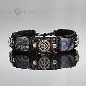 Украшения handmade. Livemaster - original item Leather men`s bracelet with Sodalite and inserts 925 Silver. Handmade.