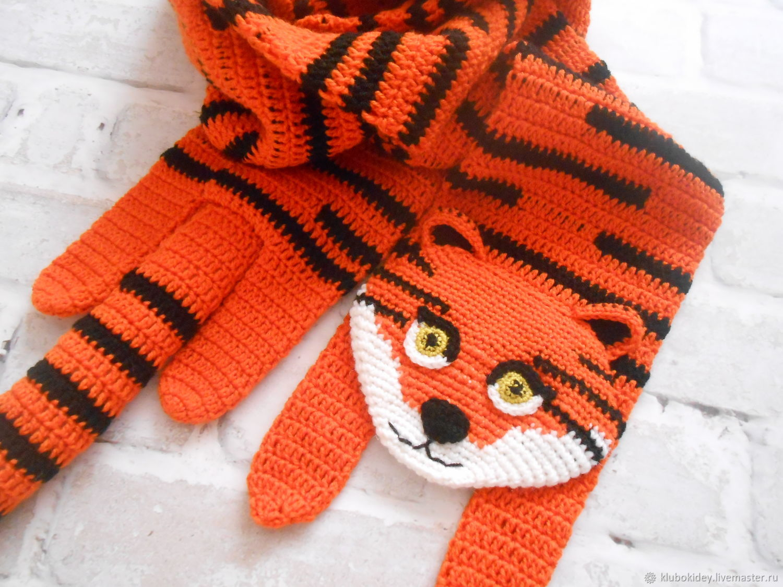 Scarf 'Tiger' women's children's men's, Scarves, Cherepovets,  Фото №1