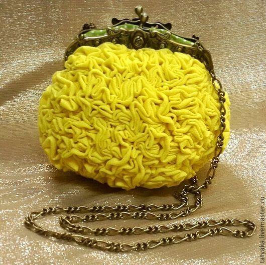 """Женские сумки ручной работы. Ярмарка Мастеров - ручная работа. Купить сумочка""""Весна"""". Handmade. Желтый, сумка роза, сумочка на фермуаре"""