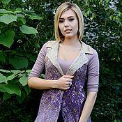 """Одежда ручной работы. Ярмарка Мастеров - ручная работа Ажурный двухсторонний жилет  """"Lilac dreams"""". Handmade."""