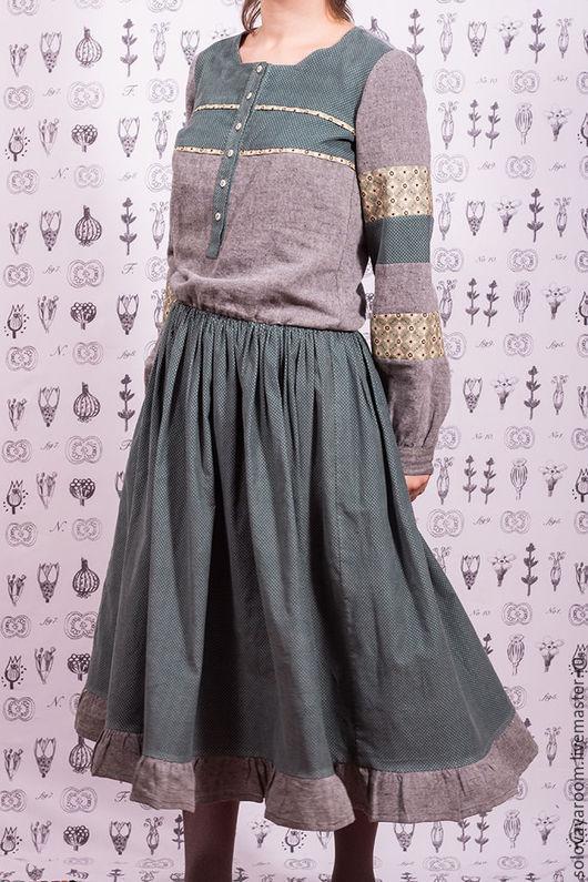 Платья ручной работы. Ярмарка Мастеров - ручная работа. Купить Мятное платье бохо из микровельвета и льна. Handmade.
