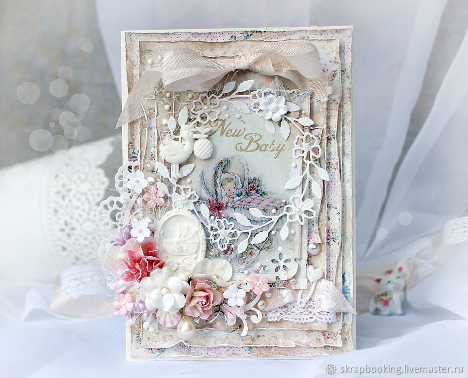 Delicate baby card is the perfect gift for a birth or first birthday of a little girl. As ornaments used shabby ribbon, flowers, pearl beads and other cute decoratives