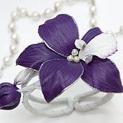 Украшения handmade. Livemaster - original item A leather bracelet Orchid. Decoration leather.. Handmade.