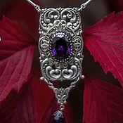 """Фиолетовый комплект украшений колье и серьги с фианитами """"Violet"""""""