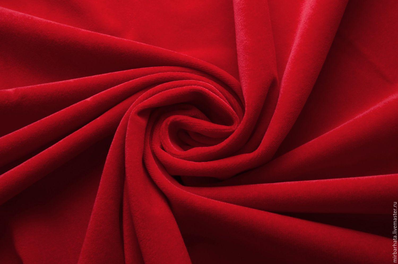 Бархат натуральный хлопковый. Цвет красный яркий. Производство Италия. Ширина ткани - 140 см. Состав-100%СО Стоимость - 27 $ за погонный метр.
