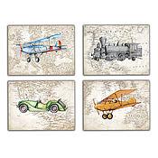 Для дома и интерьера handmade. Livemaster - original item Train Plane Car Set of 4 paintings for the room of boy. Handmade.