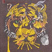 """Для дома и интерьера ручной работы. Ярмарка Мастеров - ручная работа Льняной фартук """"Тигр"""". Handmade."""