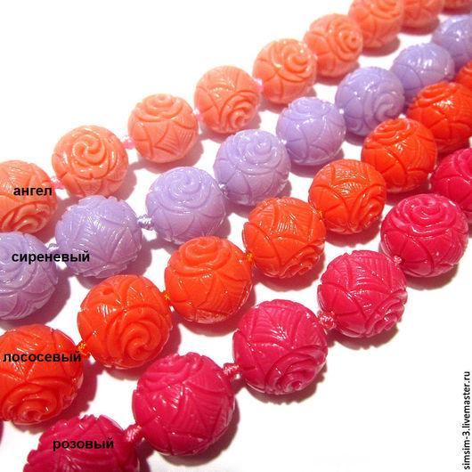 Для украшений ручной работы. Ярмарка Мастеров - ручная работа. Купить КОРАЛЛ резной шарик, 12мм, 4 ЦВЕТА. Handmade.