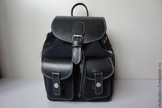 Рюкзаки ручной работы. Ярмарка Мастеров - ручная работа. Купить Замшевый рюкзачок. Handmade. Черный, натуральная кожа
