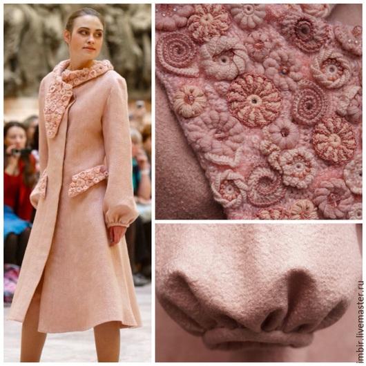 """Верхняя одежда ручной работы. Ярмарка Мастеров - ручная работа. Купить Пальто """"Розовый жемчуг"""". Handmade. Кремовый, пальто авторское"""