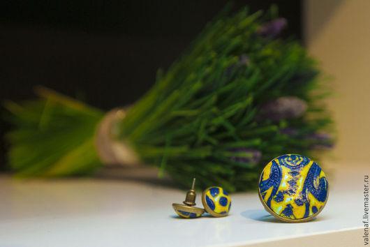Комплекты украшений ручной работы. Ярмарка Мастеров - ручная работа. Купить Комплект украшений из полимерной глины Синее кружево. Handmade.
