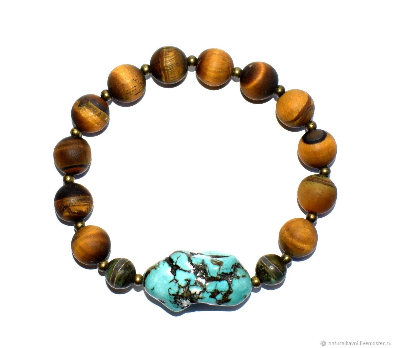 Bracelet matte tiger eye, agate DZI and turquoise, Bead bracelet, Moscow,  Фото №1