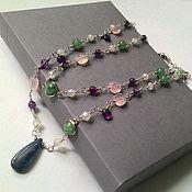 Necklace handmade. Livemaster - original item Necklace amethyst, moonstone, clear quartz and aventurine. Handmade.