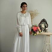 Свадебный салон handmade. Livemaster - original item Wedding dress with boho Swan embroidery. Handmade.