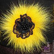 """Украшения ручной работы. Ярмарка Мастеров - ручная работа Брошь-зажим-заколка """"Солнечно-желтый Пушистик"""" натуральный мех песца. Handmade."""