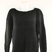 Одежда ручной работы. Ярмарка Мастеров - ручная работа Свитер оверсайз, платье черное вязаное прямое. Handmade.