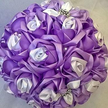 Свадебный салон ручной работы. Ярмарка Мастеров - ручная работа Букет невесты из атласных лент. Дубль-букет, брошь-букет. Handmade.