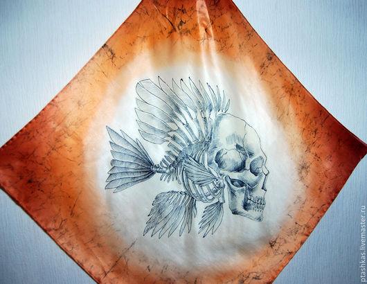 """Шали, палантины ручной работы. Ярмарка Мастеров - ручная работа. Купить Батик-платок """"Рыба моя..."""". Handmade. Рыжий"""