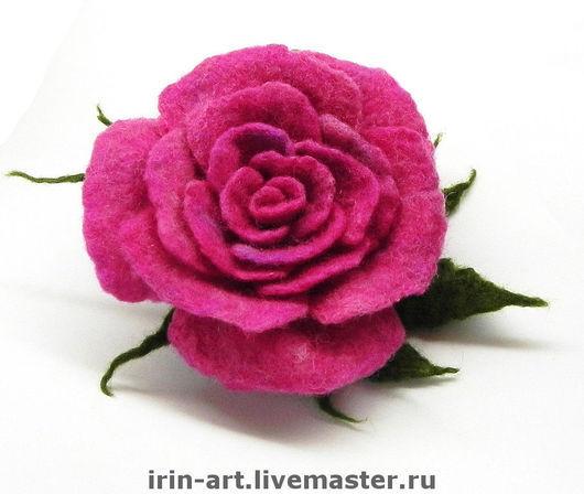 Броши ручной работы. Ярмарка Мастеров - ручная работа. Купить войлочная брошь Роза PINK. Handmade. Брошь, розовая