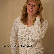 """Одежда ручной работы. Ярмарка Мастеров - ручная работа Джемпер женский вязаный  белый """"Ажурный"""" из хлопка. Handmade."""