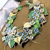 Украшения handmade. Livemaster - original item Garden Forget-Me-Happy. Necklace made of genuine leather. Handmade.