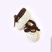 Работы для детей, handmade. Livemaster - original item booties ballet flats for girls, milk, cream. Handmade.