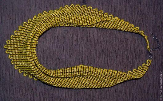Колье, бусы ручной работы. Ярмарка Мастеров - ручная работа. Купить желтая косынка. Handmade. Желтый, колье из бисера