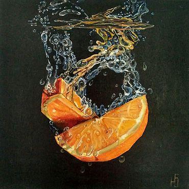 Картины и панно ручной работы. Ярмарка Мастеров - ручная работа Картина маслом Дольки апельсина на черном фоне гиперреализм на холсте. Handmade.