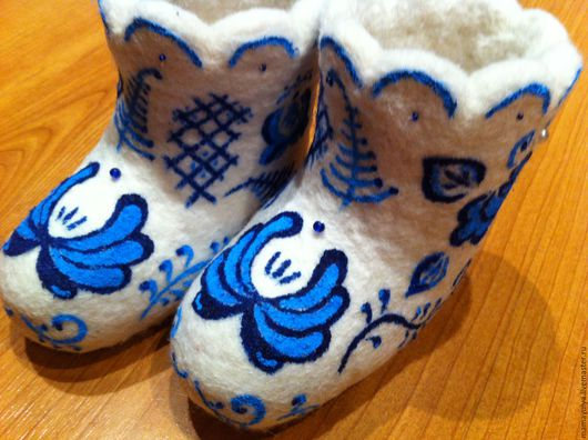 """Обувь ручной работы. Ярмарка Мастеров - ручная работа. Купить Валенки детские """"гжель"""". Handmade. Валенки, гжель, шерсть для валяния"""