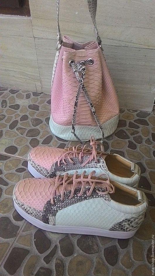 Обувь ручной работы. Ярмарка Мастеров - ручная работа. Купить Комплект сумка и кеды. Handmade. Бежевый, Кеды из питона
