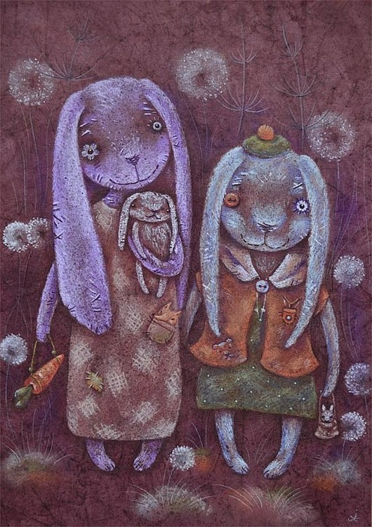 Картина веселые зайчихи