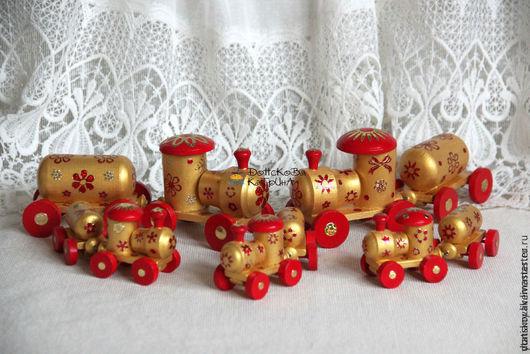 """Новый год 2017 ручной работы. Ярмарка Мастеров - ручная работа. Купить Паровозы """"RED&GOLD"""". Handmade. Белый, елочная игрушка"""