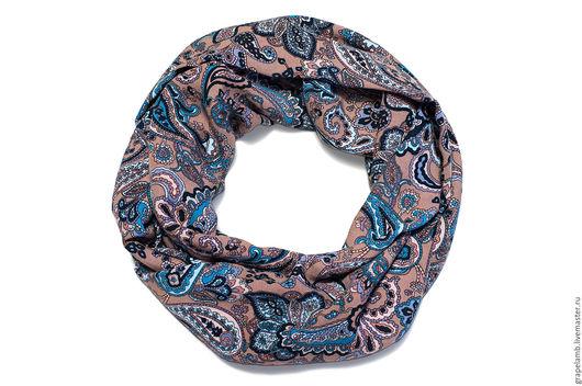 Шарфы и шарфики ручной работы. Ярмарка Мастеров - ручная работа. Купить шарф-снуд Легкий и Стильный. Handmade. Голубой, бежевый