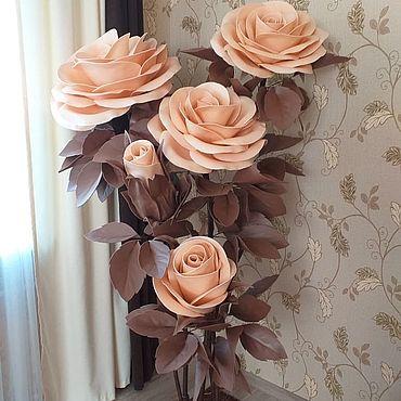 Цветы и флористика ручной работы. Ярмарка Мастеров - ручная работа Интерьерные ростовые розы Большие цветы Бежевые розы. Handmade.