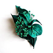 Украшения handmade. Livemaster - original item Leather flower brooch Caribbean turquoise sea wave. Handmade.