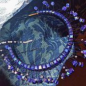 """Свадебный салон ручной работы. Ярмарка Мастеров - ручная работа Ободок с кристаллами """"Сваровски"""".Синие камни. Handmade."""