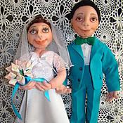 Куклы и игрушки ручной работы. Ярмарка Мастеров - ручная работа Свадебные куклы из капрона молодожены-новобрачные. Handmade.