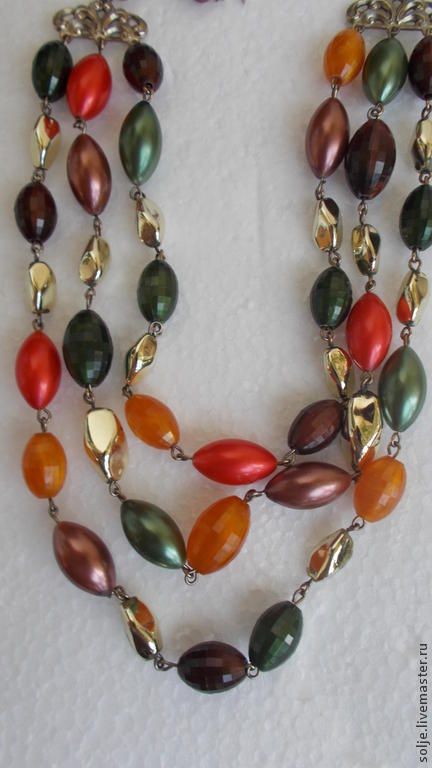 Винтажные украшения. Ярмарка Мастеров - ручная работа. Купить Бусы Каскад три ряда Ожерелье Люцит Япония 1950-е. Handmade.