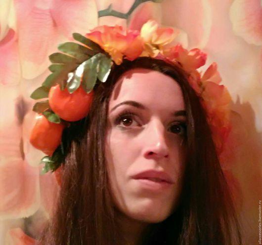 Повязки ручной работы. Ярмарка Мастеров - ручная работа. Купить Венок на голову с мандаринами. Handmade. Оранжевый, венки на голову, цветы