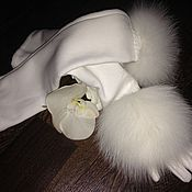 Аксессуары ручной работы. Ярмарка Мастеров - ручная работа Перчатки удлиненные (на флисе)  с мехом финского белого песца. Handmade.