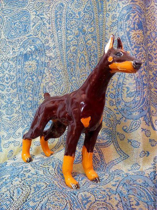 Статуэтки ручной работы. Ярмарка Мастеров - ручная работа. Купить Статуэтка собака породы Доберман. Handmade. Коричневый, доберман, анималистика