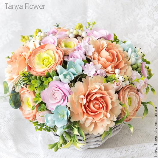 Букеты ручной работы. Ярмарка Мастеров - ручная работа. Купить Большой букет цветов в плетеной корзине. Handmade. Tanya flower
