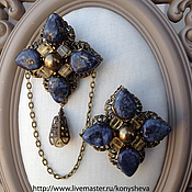 Украшения handmade. Livemaster - original item Brooches are paired with citrine and lapis lazuli.. Handmade.