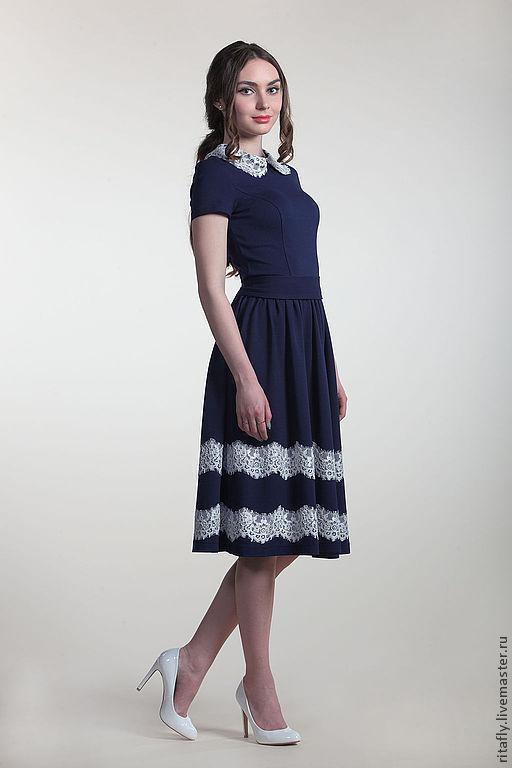 """Платья ручной работы. Ярмарка Мастеров - ручная работа. Купить Платье с кружевом """"Мила"""". Handmade. Тёмно-синий, платье повседневное"""