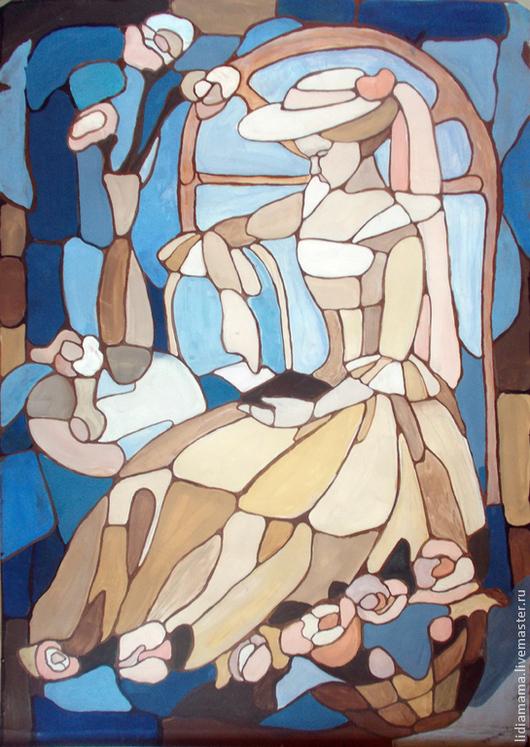 Картина. `Витраж` Девушка у окна работа Татьяны Петровской