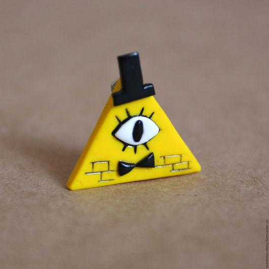 """Броши ручной работы. Ярмарка Мастеров - ручная работа. Купить Брошь """"Билл Шифр"""" из Gravity Falls. Handmade. Желтый, брошка"""