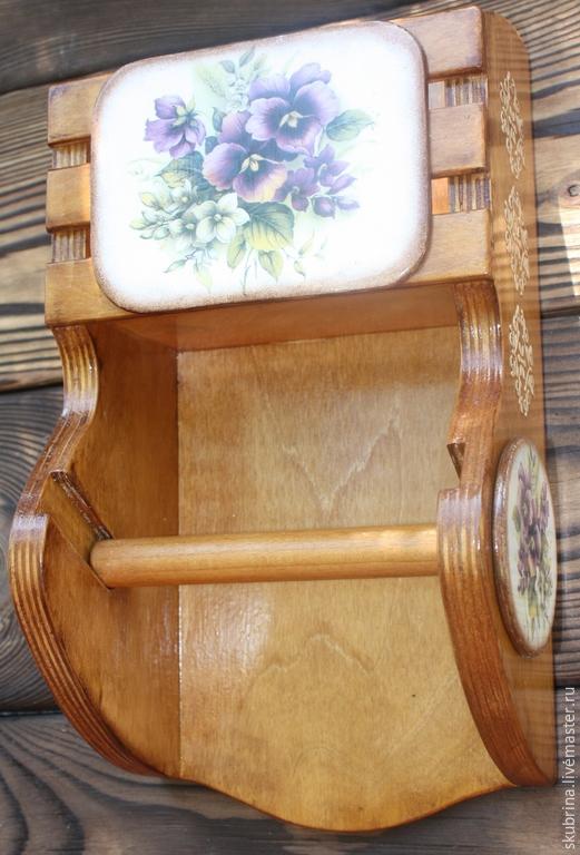 """Ванная комната ручной работы. Ярмарка Мастеров - ручная работа. Купить Держатель для туалетной бумаги """"Viola"""" декупаж. Handmade. Разноцветный"""